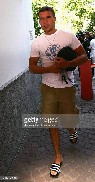 Lukas Podolski arrives for the seasons first training session at Bayern's training ground Saebener Strasse on June 28 2007 in Munich Germany