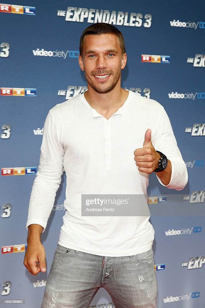 <a gi-track='captionPersonalityLinkClicked' href=/galleries/search?phrase=Lukas+Podolski&family=editorial&specificpeople=204460 ng-click='$event.stopPropagation()'>Lukas Podolski</a> attends the German premiere of the film 'The Expendables 3' at Residenz Kino on August 6, 2014 in Cologne, Germany.