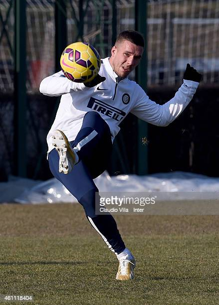 Lukas Podolski during the FC Internazionale Training Session at Appiano Gentile on January 07 2015 in Como Italy