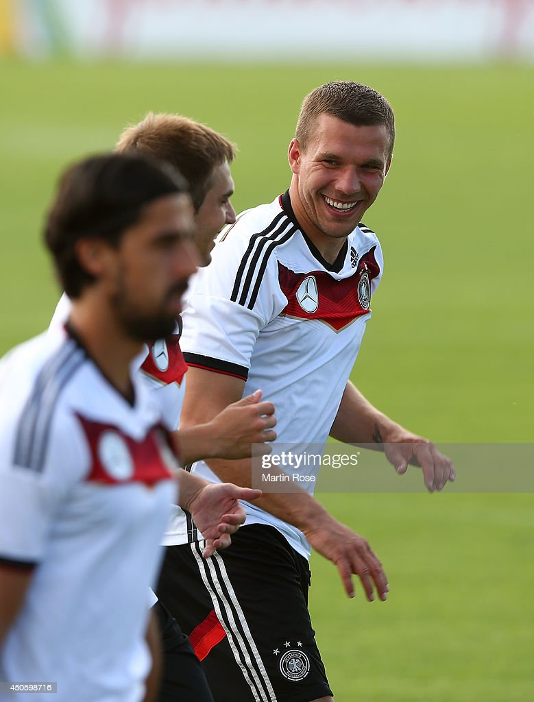 Lukas Podolski looks on during the German National team training at Campo Bahia on June 14, 2014 in Santo Andre, Brazil.