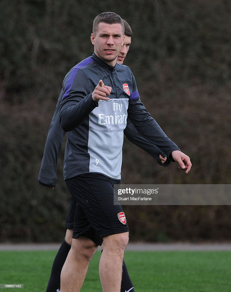 Lukas Podolski of Arsenal before a training session at London Colney on April 15, 2013 in St Albans, England.
