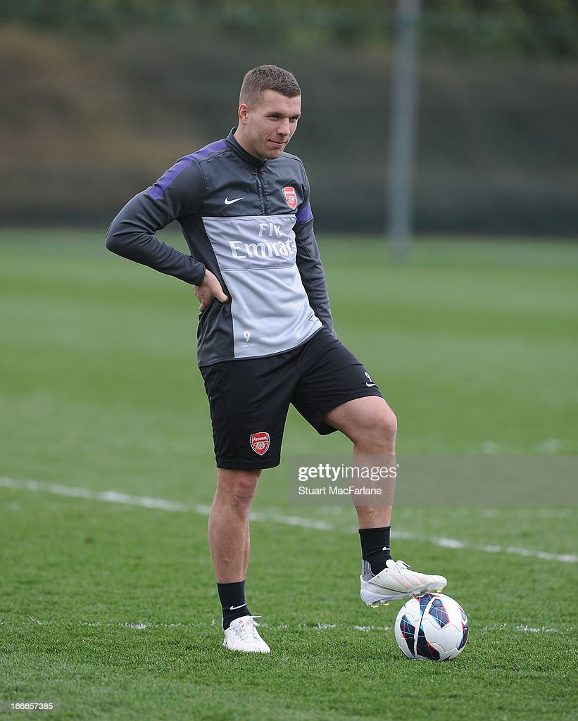 Lukas Podolski of Arsenal during a training session at London Colney on April 15, 2013 in St Albans, England.