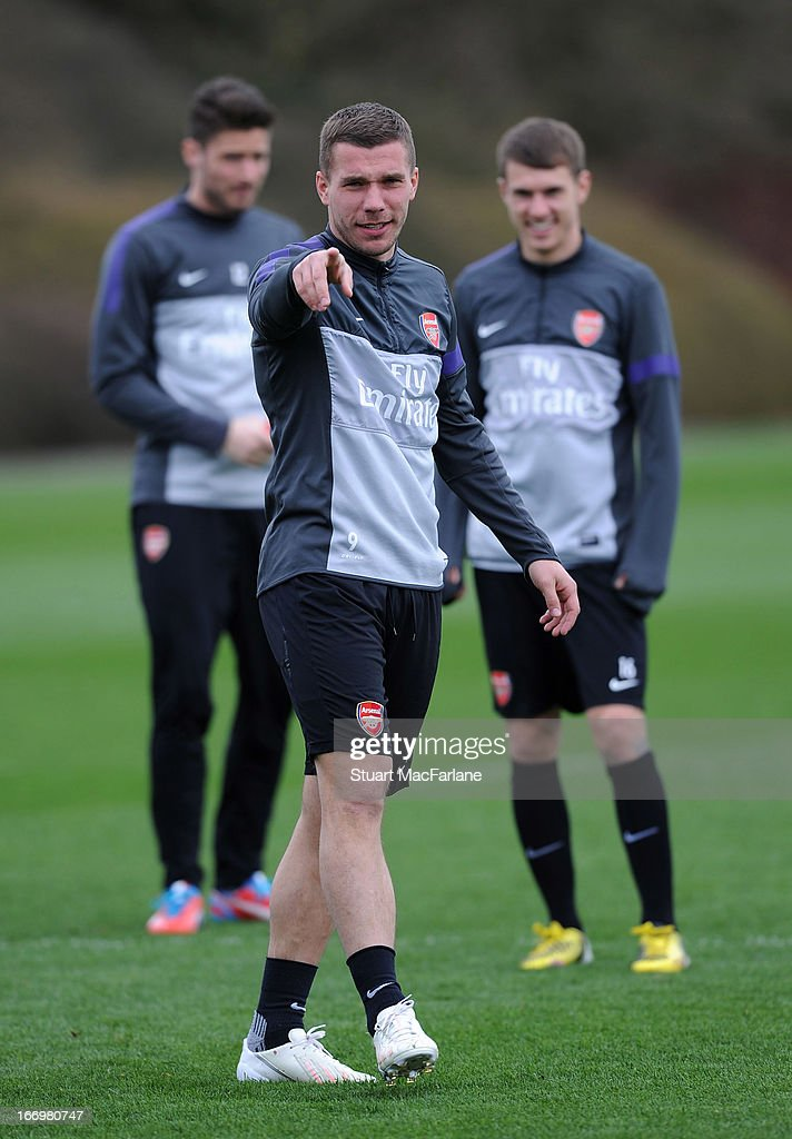 Lukas Podolski of Arsenal during a training session at London Colney on April 19, 2013 in St Albans, England.