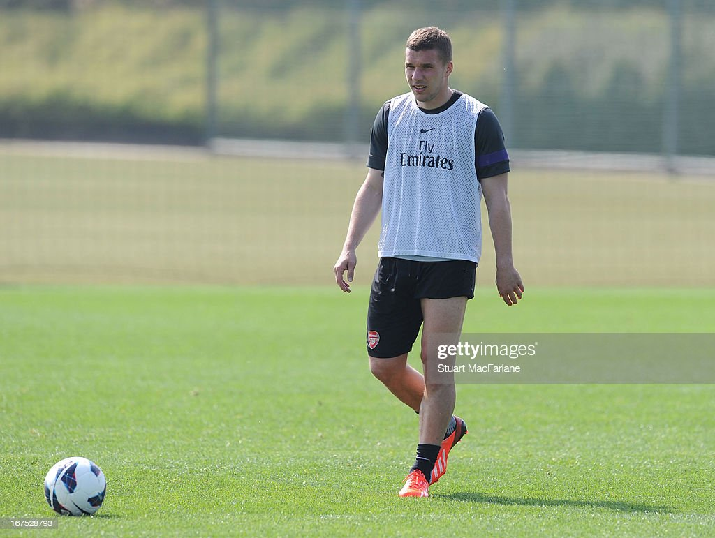 Lukas Podolski of Arsenal during a training session at London Colney on April 26, 2013 in St Albans, England.
