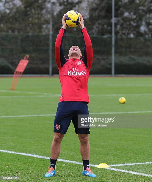 Lukas Podolski of Arsenal during a training session at London Colney on December 31 2013 in St Albans England