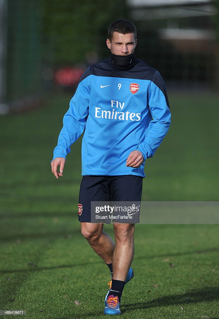 Lukas Podolski of Arsenal during a training session at London Colney on January 27, 2014 in St Albans, England.