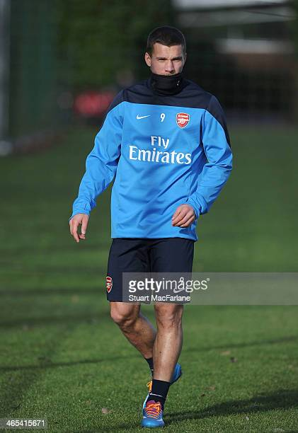 Lukas Podolski of Arsenal during a training session at London Colney on January 27 2014 in St Albans England