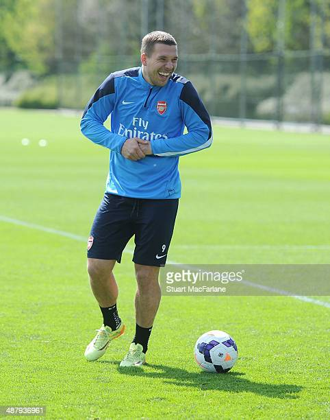 ALBANS ENGLAND MAY 3 Lukas Podolski of Arsenal during a training session at London Colney on May 3 2014 in St Albans England