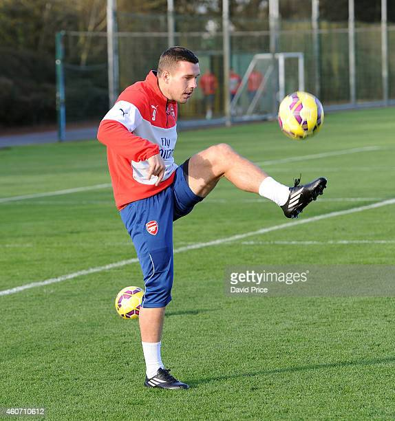 Lukas Podolski of Arsenal during the Arsenal Training Session at London Colney on December 20 2014 in St Albans England