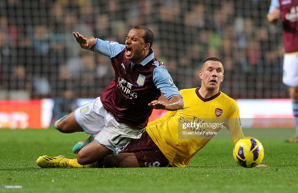 <a gi-track='captionPersonalityLinkClicked' href=/galleries/search?phrase=Lukas+Podolski&family=editorial&specificpeople=204460 ng-click='$event.stopPropagation()'>Lukas Podolski</a> of Arsenal tackles Aston Villa's <a gi-track='captionPersonalityLinkClicked' href=/galleries/search?phrase=Gabriel+Agbonlahor&family=editorial&specificpeople=662025 ng-click='$event.stopPropagation()'>Gabriel Agbonlahor</a> during the Barclays Premier League match between Aston Villa and Arsenal at Villa Park on November 24, 2012 in Birmingham, England.