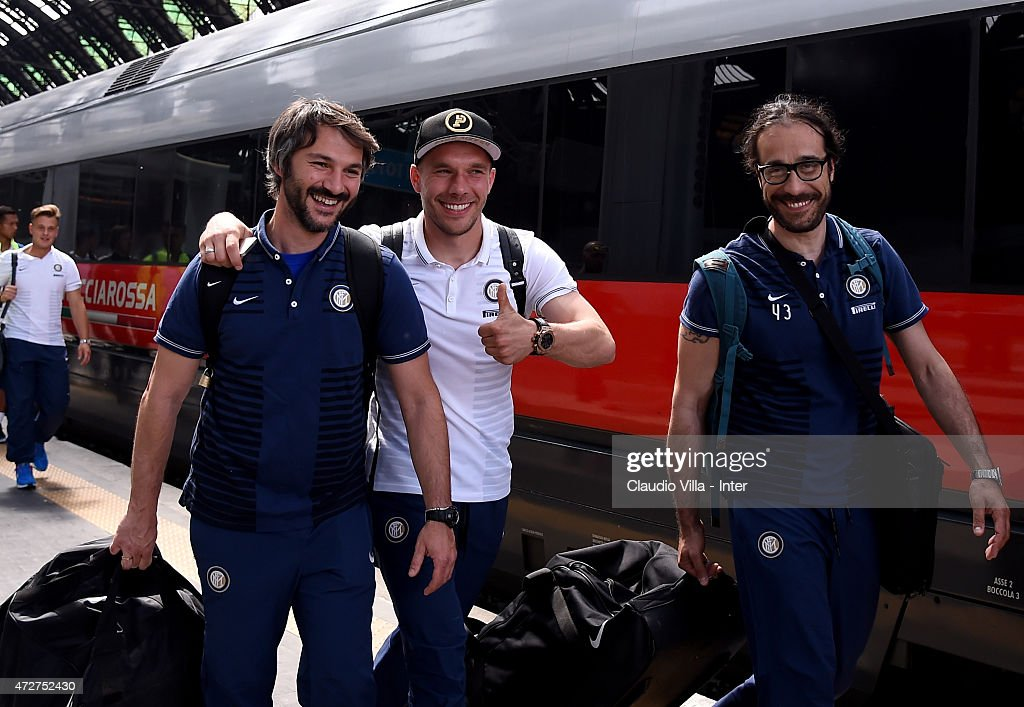 Lukas Podolski of FC Internazionale (C) departs to Rome at train station on May 9, 2015 in Milano, Italy.