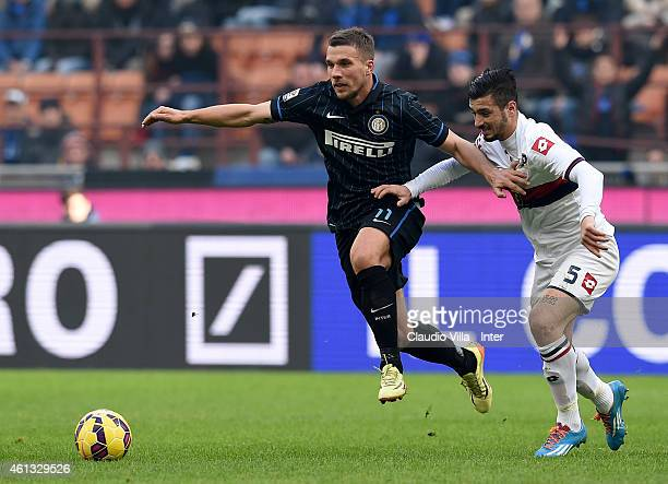 Lukas Podolski of FC Internazionale in action during the Serie A match between FC Internazionale Milano and Genoa CFC at Stadio Giuseppe Meazza on...