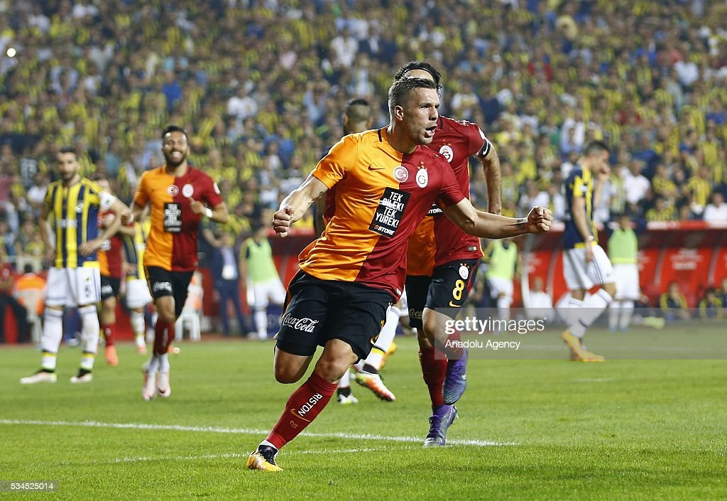 Lukas Podolski (C) of Galatasaray celebrates after scoring a goal during the Ziraat Turkish Cup Final match between Galatasaray and Fenerbahce at Antalya Ataturk Stadium in Antalya, Turkey on May 26, 2016.