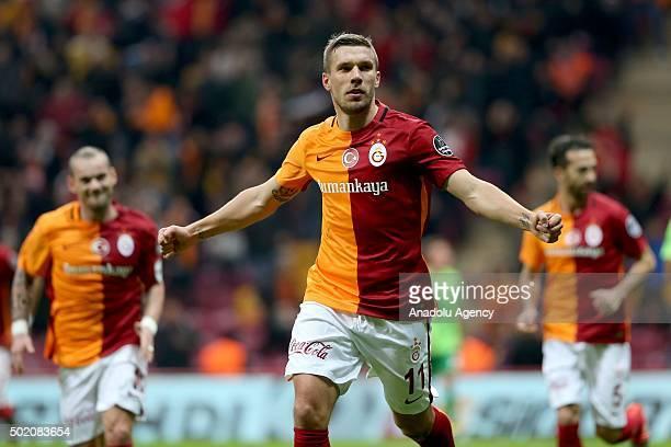 Lukas Podolski of Galatasaray celebrates scoring during the Turkish Spor Toto Super Lig match between Galatasaray and Akhisar Belediyespor at the...