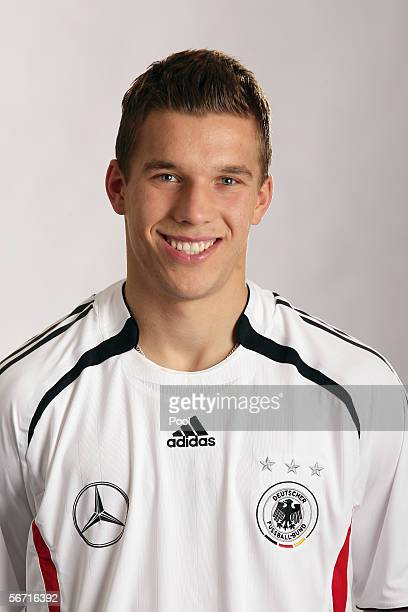 Lukas Podolski of Germany attends a photocall of the German National Football Team on January 31 2006 in Duesseldorf Germany