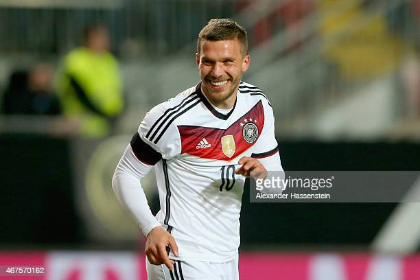 Lukas Podolski of Germany celebrates scoring the sencond team goal during the International Friendly match between Germany and Australia at...