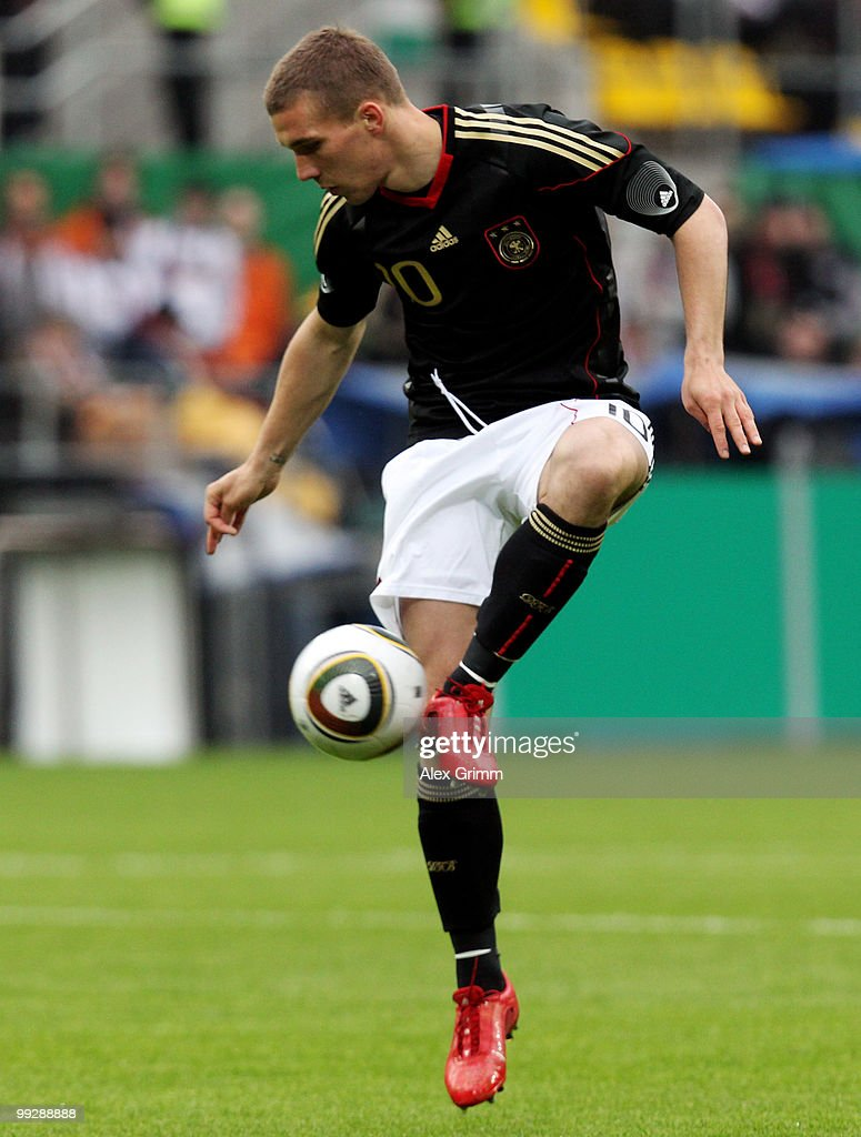 Lukas Podolski of Germany controles the ball during the international friendly match between Germany and Malta at Tivoli stadium on May 13, 2010 in Aachen, Germany.