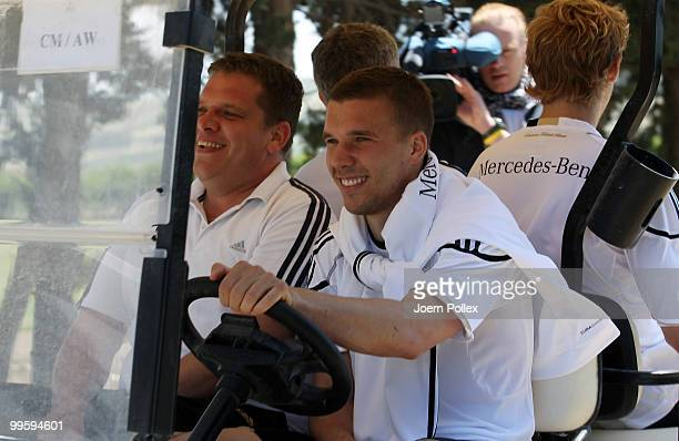 Lukas Podolski of Germany drives a golf cart after the German National Team training session at Verdura Golf and Spa Resort on May 16 2010 in Sciacca...
