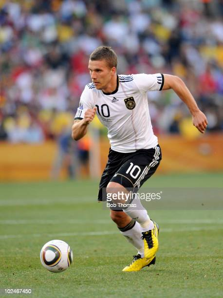 Lukas Podolski of Germany during the 2010 FIFA World Cup South Africa Round of Sixteen match between Germany and England at Free State Stadium on...