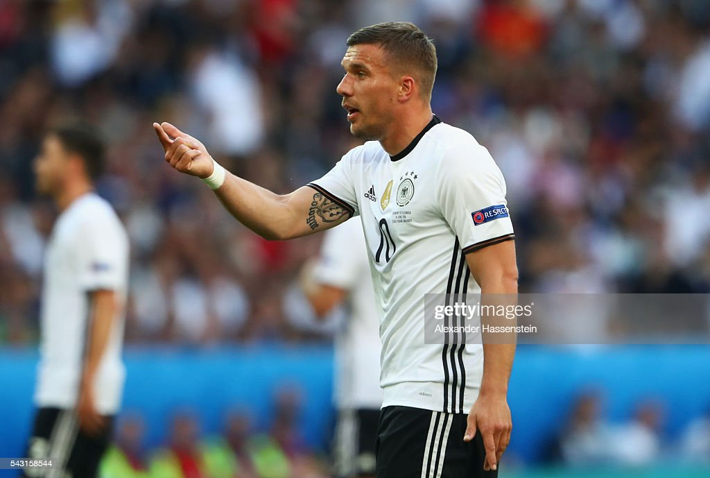 Lukas Podolski of Germany gestures during the UEFA EURO 2016 round of 16 match between Germany and Slovakia at Stade Pierre-Mauroy on June 26, 2016 in Lille, France.