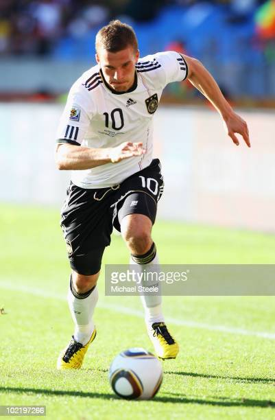 Lukas Podolski of Germany in action during the 2010 FIFA World Cup South Africa Group D match between Germany and Serbia at Nelson Mandela Bay...