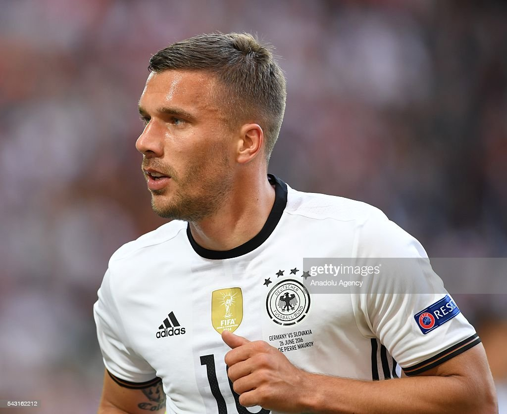Lukas Podolski of Germany in action during the UEFA Euro 2016 round of 16 football match between Germany and Slovakia at Stade Pierre Mauroy in Lille, France on June 26, 2016.