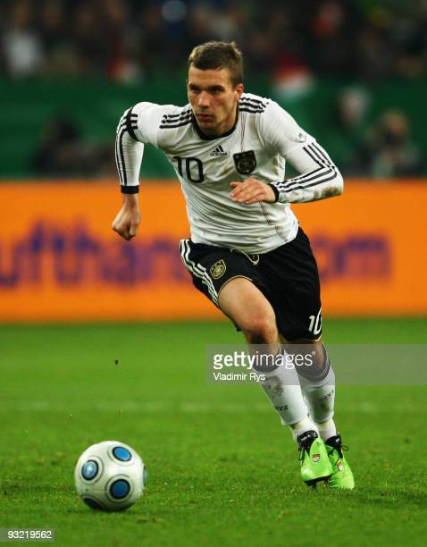 Lukas Podolski of Germany is pictured during the International friendly match between Germany and the Ivory Coast at the Schalke Arena on November 18...