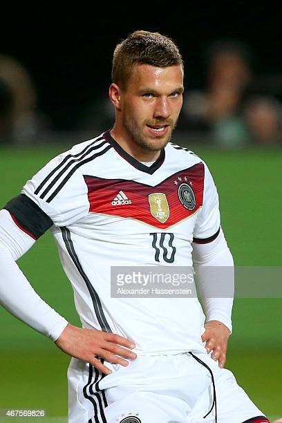 Lukas Podolski of Germany looks on during the International Friendly match between Germany and Australia at FritzWalterStadion on March 25 2015 in...