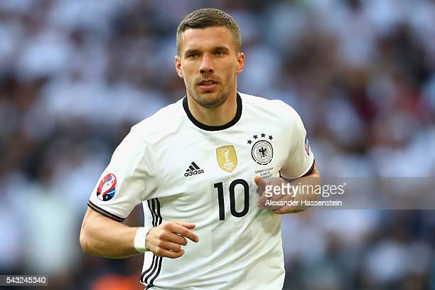 Lukas Podolski of Germany looks on during the UEFA EURO 2016 round of 16 match between Germany and Slovakia at Stade PierreMauroy on June 26 2016 in...
