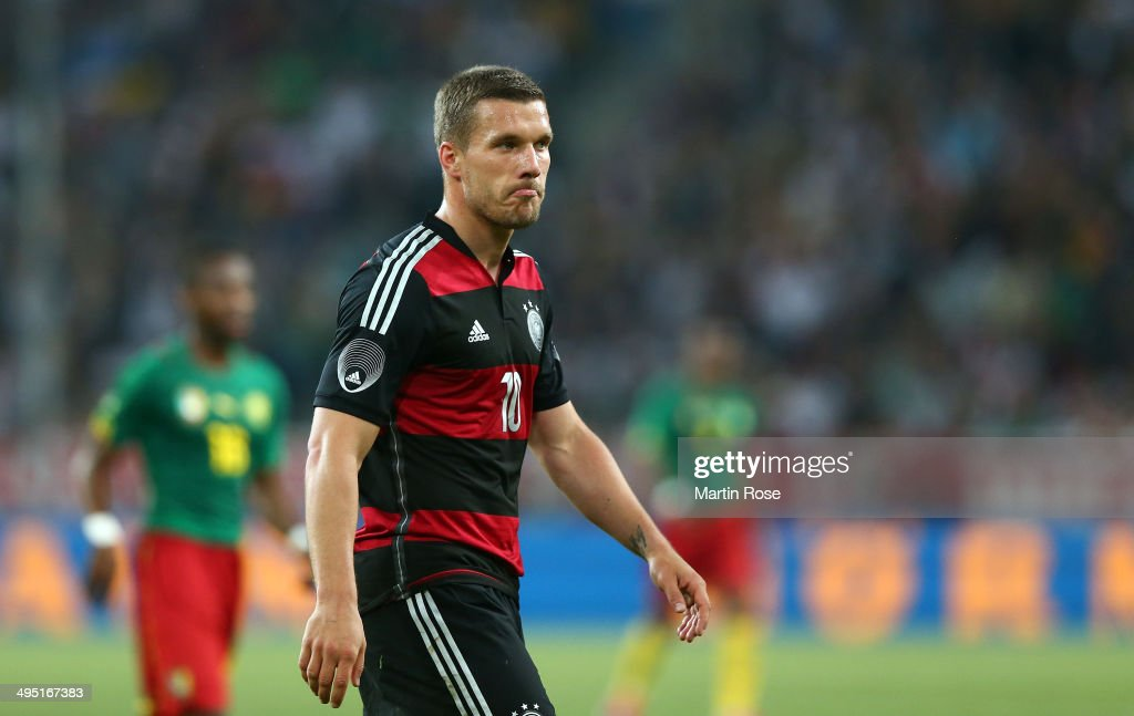 Lukas Podolski of Germany reacts during the International Friendly Match between Germany and Cameroon at Borussia Park Stadium on June 1, 2014 in Moenchengladbach, Germany.