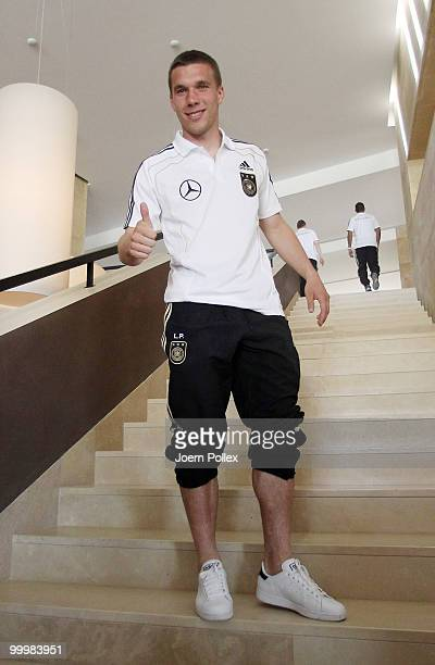 Lukas Podolski of Germany talks to the media during a press conference at Verdura Golf and Spa Resort on May 19 2010 in Sciacca Italy