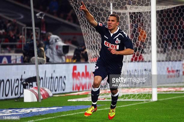 Lukas Podolski of Koeln celebrates his team's second goal during the Bundesliga match between VfB Stuttgart and 1 FC Koeln at MercedesBenz Arena on...