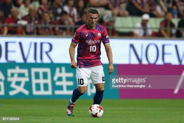 Lukas Podolski of Vissel Kobe in action during the JLeague J1 match between Vissel Kobe and Omiya Ardija at Noevir Stadium Kobe on July 29 2017 in...