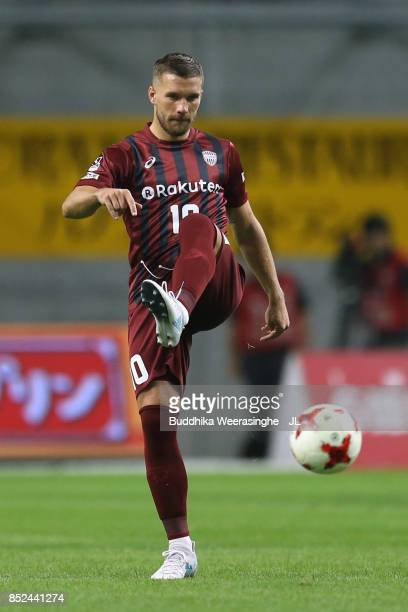 Lukas Podolski of Vissel Kobe in action during the JLeague J1 match between Vissel Kobe and Kawasaki Frontale at Noevir Stadium Kobe on September 23...
