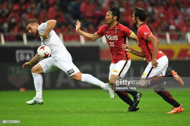 Lukas Podolski of Vissel Kobe in action during the JLeague J1 match between Urawa Red Diamonds and Vissel Kobe at Saitama Stadium on October 14 2017...