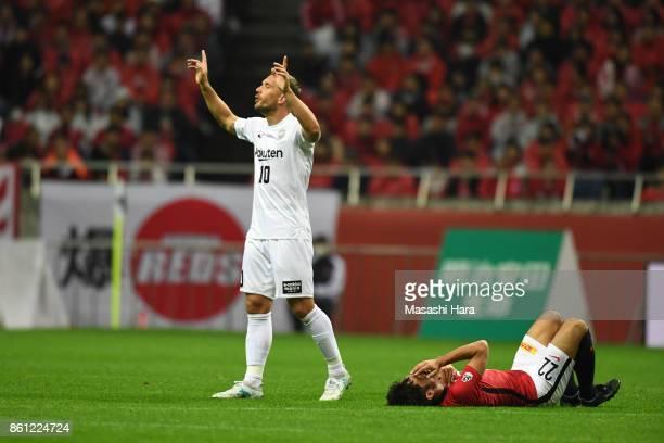 Lukas Podolski of Vissel Kobe looks on during the JLeague J1 match between Urawa Red Diamonds and Vissel Kobe at Saitama Stadium on October 14 2017...