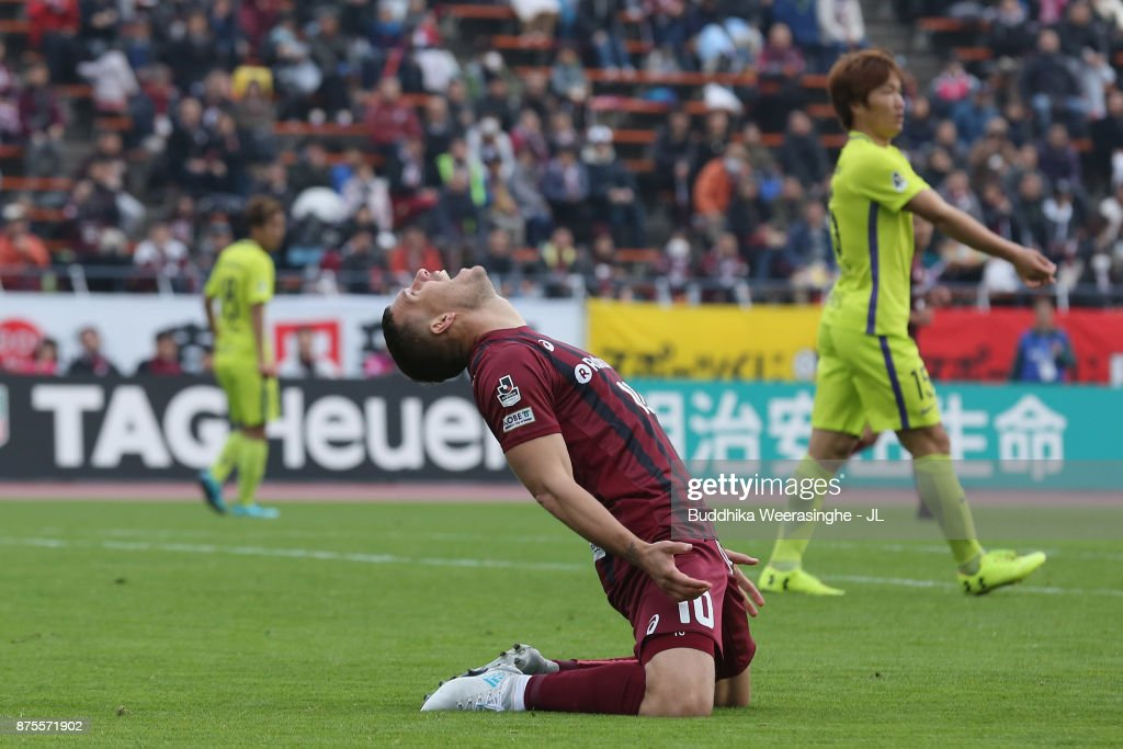 Lukas Podolski of Vissel Kobe reacts after missing a chance during the J.League J1 match between Vissel Kobe and Sanfrecce Hiroshima at Kobe Universiade Memorial Stadium on November 18, 2017 in Kobe, Hyogo, Japan.
