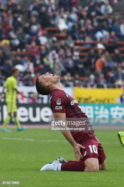 Lukas Podolski of Vissel Kobe reacts after missing a chance during the JLeague J1 match between Vissel Kobe and Sanfrecce Hiroshima at Kobe...