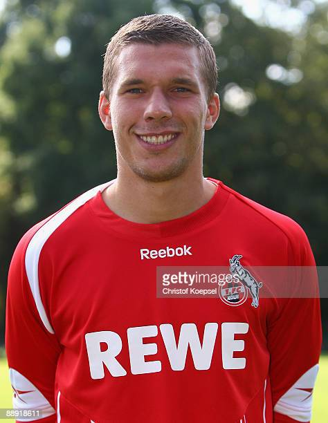 Lukas Podolski poses during the 1 FC Koeln 04 team presentation at the Geissbockheim on July 9 2009 in Cologne Germany