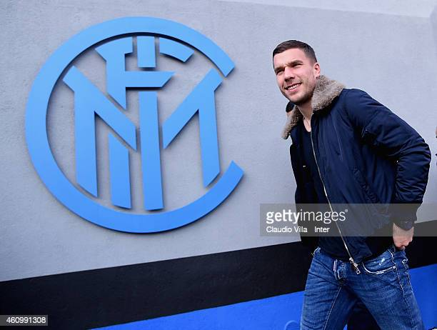 Lukas Podolski who is set to join FC Internazionale on loan until the end of the season arrives at Appiano Gentile on January 03 2015 in Como Italy