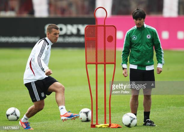 Lukas Podoslki exercises during a Germany training session at stadium Tourette on May 19 2012 in TourrettessurLoup France