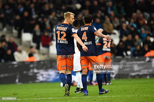 Lukas Pokorny and Vitorino Hilton of Montpellier during the Ligue 1 match betweenn Olympique de Marseille and Montpellier Herault SC at Stade...