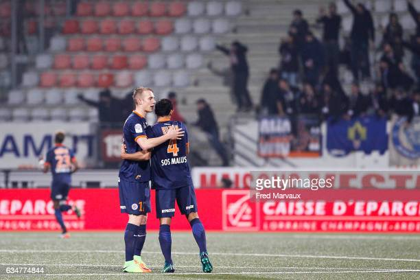 Lukas Pokorny of Montpellier and Vitorino Hilton of Montpellier celebrates during the Ligue 1 match between As Nancy Lorraine and Montpellier Herault...
