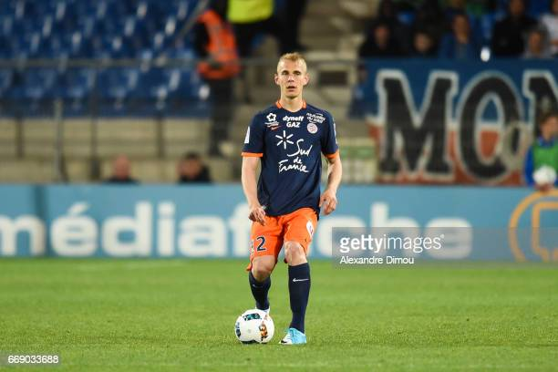 Lukas Pokorny of Montpellier during the Ligue 1 match between Montpellier Herault SC and Fc Lorient at Stade de la Mosson on April 15 2017 in...