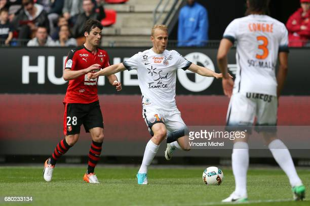 Lukas Pokorny of Montpellier during the Ligue 1 match between Stade Rennais and Montpellier Herault at Roazhon Park on May 7 2017 in Rennes France