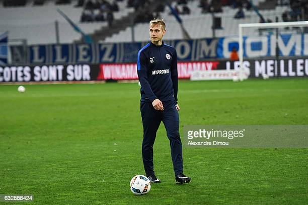Lukas Pokorny of Montpellier during the Ligue 1 match betweenn Olympique de Marseille and Montpellier Herault SC at Stade Velodrome on January 27...