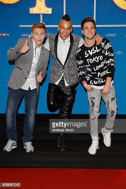 Lukas Pratschker Prince Damian and Luca Haenni attend the European premiere of 'Sing' at Cinedom on November 27 2016 in Cologne Germany