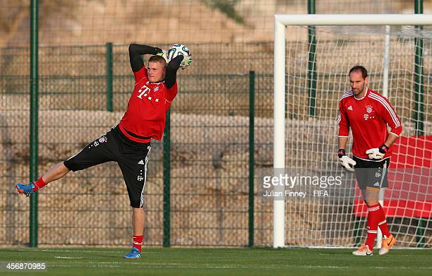 Lukas Raeder and Tom Starke of Bayern Muenchen in action during a training session outside the Agadir Stadium on December 15 2013 in Agadir Morocco