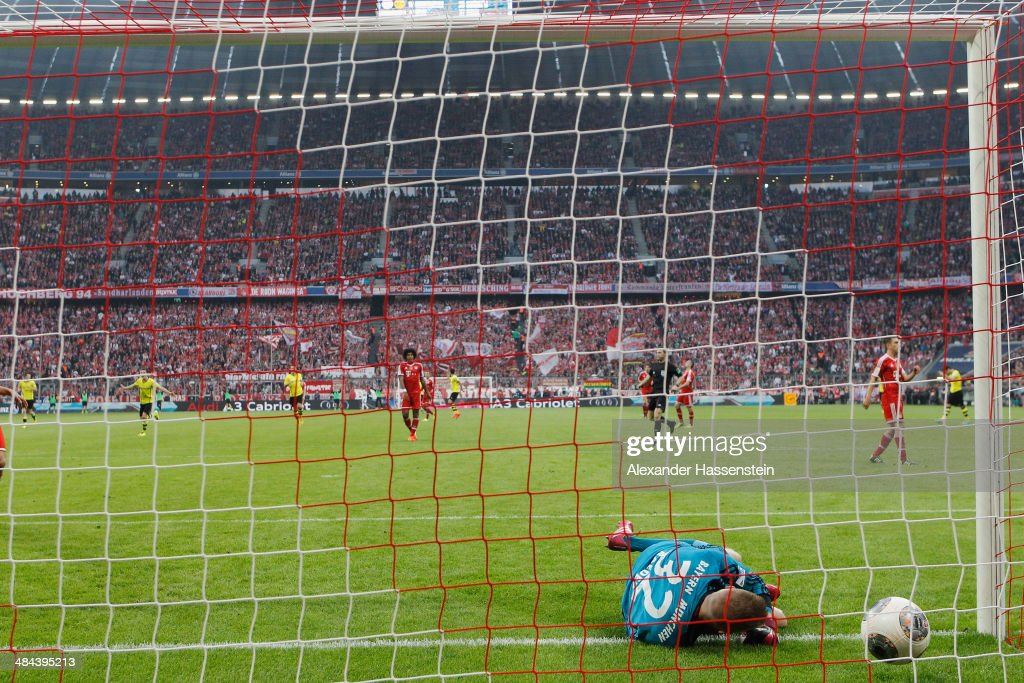 Lukas Raeder, keeper of Muenchen receives the third goal during the Bundesliga match between FC Bayern Muenchen and BVB Borussia Dortmund at Allianz Arena on April 12, 2014 in Munich, Germany.