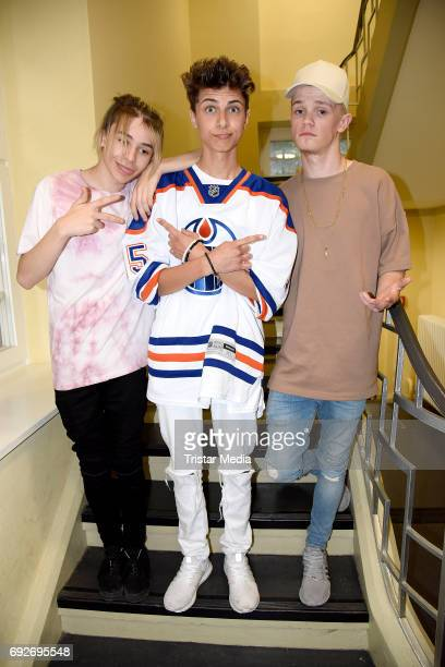 Lukas Rieger and UK teen stars Bars Melody attend the norwegian twin brothers pop duo and teen stars Marcus Martinus showcase on June 5 2017 in...